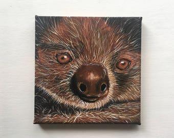 "Mini Acrylic Sloth Painting 6x6"""