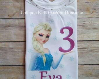 Elsa Frozen Birthday white short sleeve Shirt