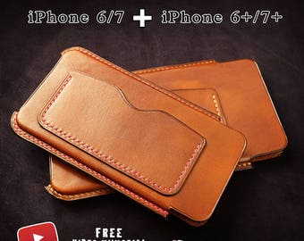 2 iPhone case patterns+video tutorial/ iphone 6,7, 6 plus and 7 plus/ leathercraft tutorials