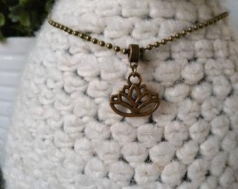Necklace charm lotus, lotus necklace, yoga necklace