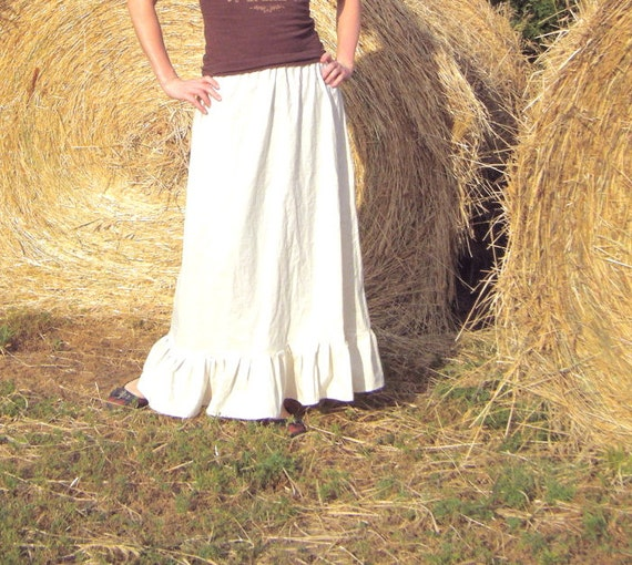 Grace Petticoat - CUSTOM MADE Cream 100% Cotton Muslin Skirt - Flounced Ruffle - Adult / Women's - Moth & Rust Handmade in Kansas, USA