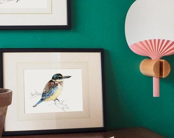 New Zealand native bird Kōtare (or Kingfisher) illustrated Large print from original watercolor and ink painting artwork, Wild life wall art