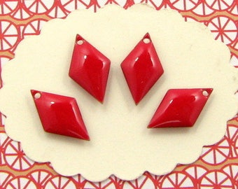 6 Enamelled charm bright-red, trinket, sequin