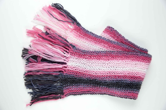 Long Woman's Knitted Scarf with Mohair Wool, Colorful Scarf with Pink and Black, Winter Fashion Accessory, Christmas Gift, Birthday Gift