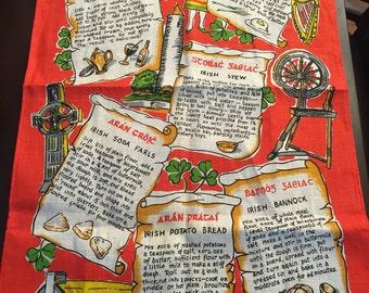 Irish recipe tea towel, made in Ireland.