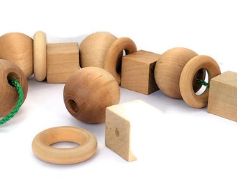 Waldorf Inspired Wooden Lacing Toy / Reggio/ Montessori / Open-ended / Toddler / Preschool / Matching & Sorting Activity / Fine Motor