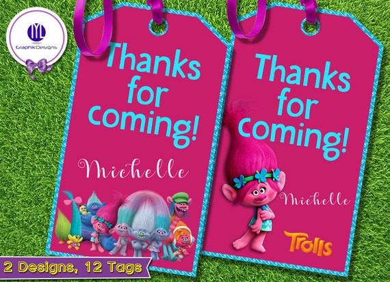 Trolls Printable Thank You Tags
