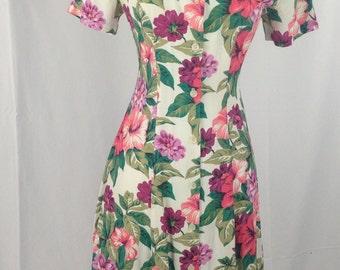 Floral Dawn Joy Fashions Maxi Dress Vintage 1960s style