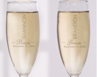 Personalised 'Bride & Groom' Wedding Champagne Flutes