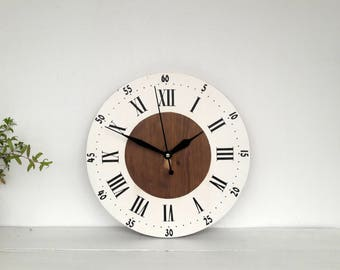 "Wooden clock Rustic wall clock 12"" Home decor  Farmhouse clock"