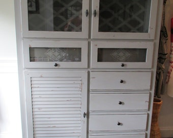 Kitchen Hutch China Cabinet Gray Shabby Cottage Farmhouse Chic