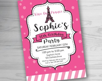 Pink PARIS Party Invitation - Paris Invitation - Paris Birthday - Eiffel Tower Invitation - Customized for you! Printable JPEG or PDF file