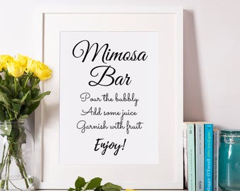 Printable Mimosa Sign / Mimosa Bar Sign / Bubbly Bar Sign / Mimosa Bar Supplies, Mimosa Bar Decorations / Wedding Bar Sign, Mimosa Bar Print