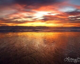 "Sunset Wall Art   ""Sunset Reflections""   Huntington Beach Photo   California Beach Photography   Beach Sand Reflection - Bright Beach Sunset"
