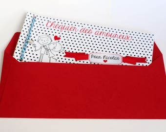 Checkbook of customizable lovers - original gift for her lover (is)!