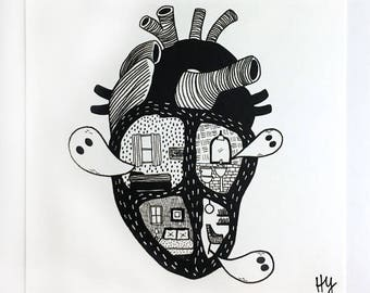 Haunted Heart, Black and White Illustration Print, Creepy Cute Gothic Art