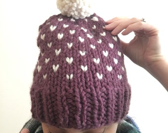 Slouchy Fair Isle Knitted Hat