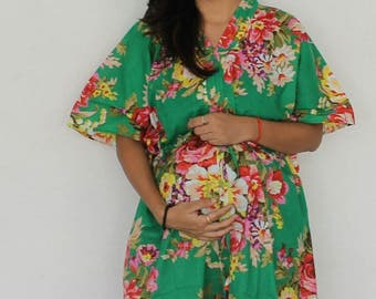 Green Maternity dress, Delivery Gown, Hospital Kaftan, Nursing Gown, Hospital Gown, Pregnancy Kaftan, Maternity Gown, Feeding dress