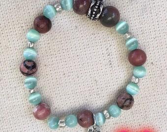 Bracelet de bille éléphant bleu turquoise