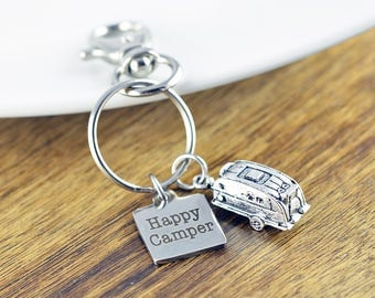 Happy Camper Key Chain, Engraved Keychain, Happy Camper, Custom Keychain, Caravan Keyring, Camper Keychain, Outdoorsy Gifts