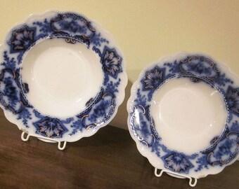 Pair of Alaska Flow Blue Rim Soup Bowls by W.H. Grindley & Co.