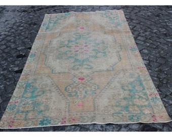 Oushak Rug,224x124cm,7'3x4'1 ft,Turkish Rug,Turkish carpet,Carpet rug,Rugs,Turkish carpet rug,Carpet,Oushak Carpet,Anatolian Carpet,823
