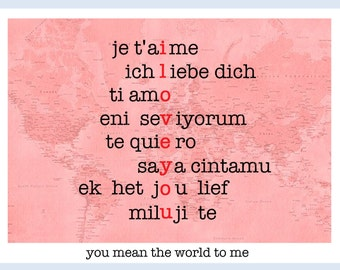 DIGITAL World Travel Valentine Card Tags Instant Download Je t'aime te quiero ti amo ich liebe dich Valentine's day you mean the world to me