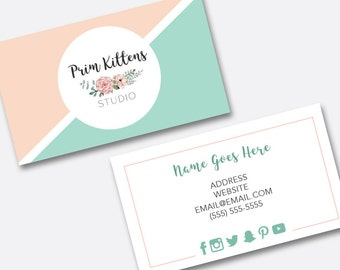 Premade Business Card, Pink and Mint Pastel Business Card, Triangle Business Card Design