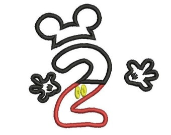6sizes - Mickey Mouse Number 2 Applique Design, Mickey Mouse 2nd Birthday Applique, Mickey Mouse Applique, Instant Download, Number Applique