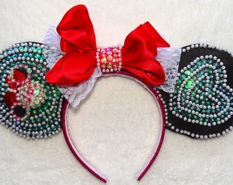 Mickey Mouse Ears Minnie Mouse Headband Beaded Inspiration hearts minnie mouse