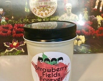 100% Soy Strawberry Fields Forever The Beatles Inspired Scented Candle