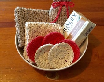 Crocheted Spa Set / Soap Bag / 2 Washcloths / 5 Face Scrubbies Pads