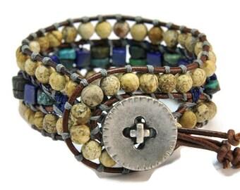 Blue Lagoon *  3 strand Wrap Bracelet. Boho Style. Bohemian Jewelry. Semiprecious stones. Gift for her. Cuff Bracelet.