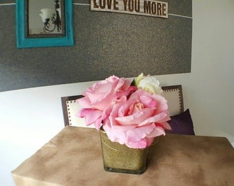 Small Pink Rose and Peony Floral Arrangement in Square Cooper Glass Vase - Budget Friendly