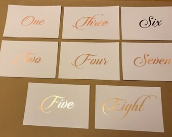 TABLE NUMBERS  (pack of 1-10) | wedding table numbers | foil table numbers