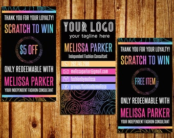 Scratch Off Cards With Business Card - Scratch To Win Cards - Chalkboard/Black - Personalized - YOU PRINT
