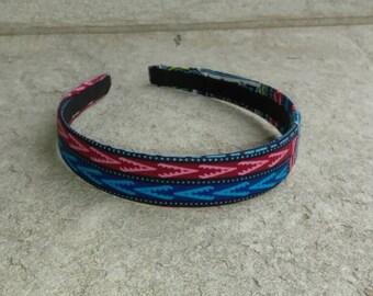 African print fabric headband, Dashiki fabric headband, African headband, school headband, Navy headband, 1 inch headband