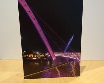 Elizabeth Quay Bridge Perth City Western Australia Greetings Card Blank Natural unedited Photograph night curves