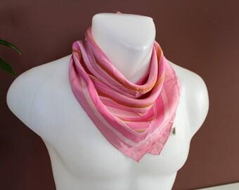 Vintage Silk Scarf, Silk Summer Scarf, Pink Silk Shawl, Silk Bandana Scarf, Square Shawl,Stripe Silk Wrap, Colorful Bandana, Silk Neck Scarf