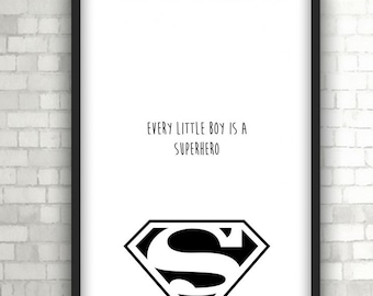 Superman Superhero Large Vector , Baby Gift, Home Decor, Black and White Art