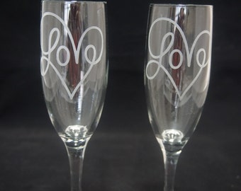 Etched Champagne Flute Set