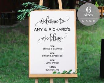 Wedding Timeline Sign Template, Wedding Program Sign Printable, Wedding Welcome Sign, Welcome Board PDF Template Instant Download #SPP013wtl