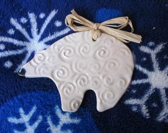 Pottery, Bear, Polar Bear, Ornament, Christmas, Cermamic, Handmade
