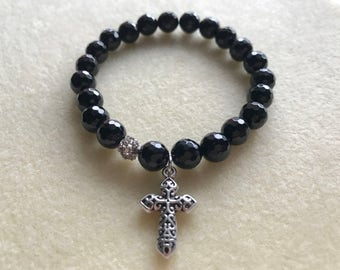 Faceted Black Onyx Stretch Bracelet with Cross Charm
