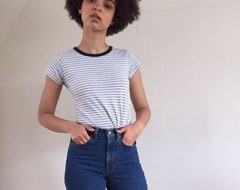 White & Blue Striped Soft Cotton Ringer Tee Capped Sleeves XS S