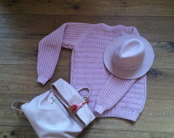 Hand knitted sweater Zephyr, pink sweater, oversize sweater, modern sweater