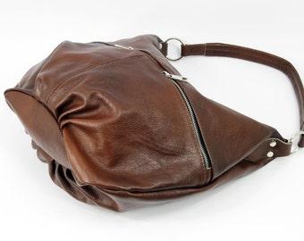 COGNAC LEATHER HOBO bag, Spring sale, Cognac Brown Leather Hobo, Leather Hobo Bag, hobo Bag,  Large bag, Leather purse, Everyday Leather Bag
