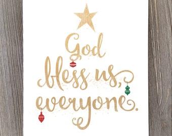 Christmas art, holiday print, christmas wall art, God bless us everyone