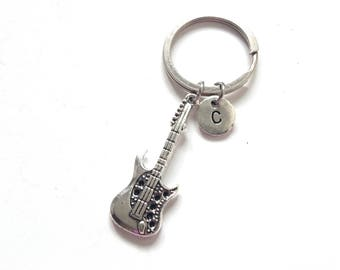 Long Silver Guitar Keychain, Personalized Guitar Keyring, Music Keychain, Music Gift, Guitar Gift, Gift For Musician, Music Lover (K28)