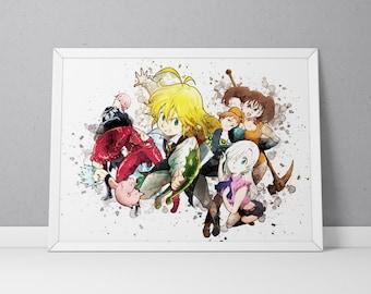 Nanatsu no Taizai print, Nanatsu no Taizai poster, The Seven Deadly Sins poster, Anime poster, Anime print Watercolor N.001